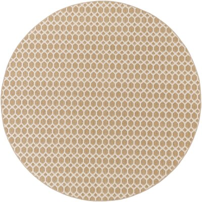Casper Neutral Indoor/Outdoor Area Rug Rug Size: Round 4