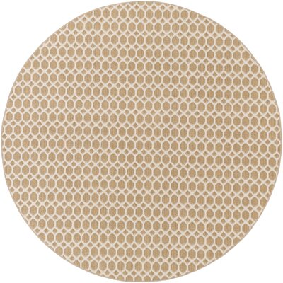 Casper Neutral Indoor/Outdoor Area Rug Rug Size: Round 8