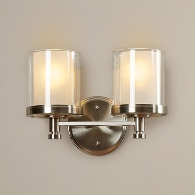 Waynesville 2-Light Vanity Light Finish/Shade Color: Brushed Nickel/Clear Outer with Frosted Inner
