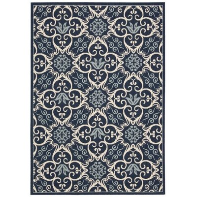 Carleton Navy Indoor/Outdoor Area Rug Rug Size: 93 x 129