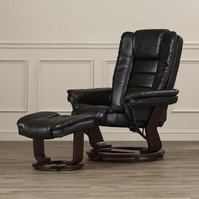 Leather Recliner and Ottoman II Upholstery: Black