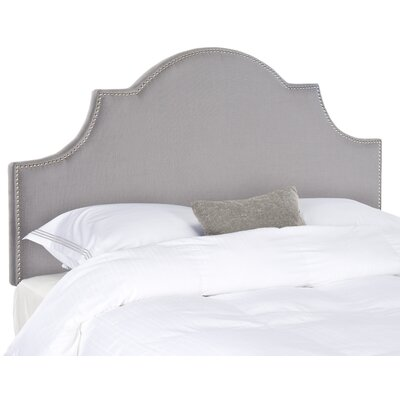 Caswell Upholstered Headboard Nailhead Finish: Silver, Color: Pale Pink / Beige, Size: Full