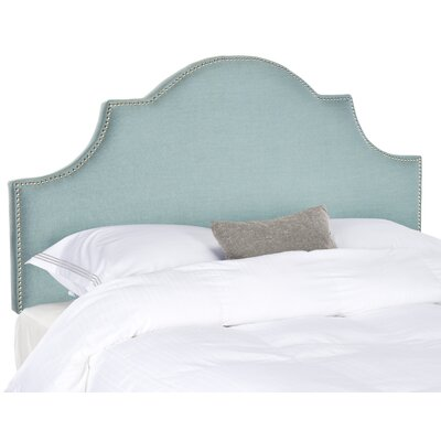 Caswell Upholstered Headboard Size: Queen, Nailhead Finish: Silver, Color: Sky Blue