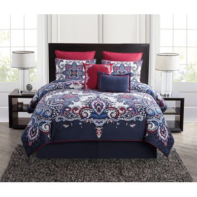 Cahill 5 Piece Comforter Set Color: Navy, Size: King