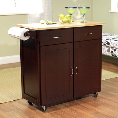 Sammons Kitchen Island with Wood Top Base Finish: Espresso