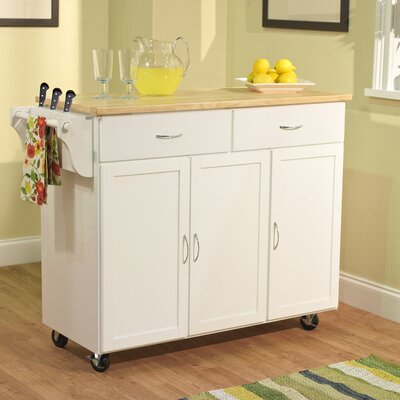 Sayers Kitchen Island with Wood Top Base Finish: White