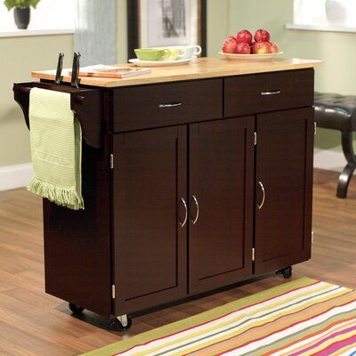 Sayers Kitchen Island with Wood Top Base Finish: Espresso