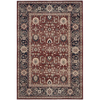 Fleetwood Rust/Navy Area Rug Rug Size: Rectangle 4 x 6