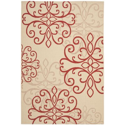 Bexton Creme / Red Area Rug Rug Size: 67 x 96