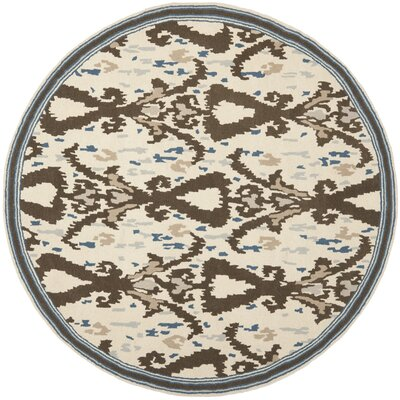 Hand-Loomed Clove Area Rug Rug Size: Round 4 x 4