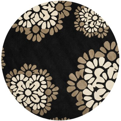 Martha Stewart Hand-Tufted Black Area Rug Rug Size: Round 6 x 6