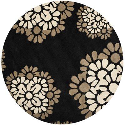Martha Stewart Hand-Tufted Black Area Rug Rug Size: Round 4 x 4