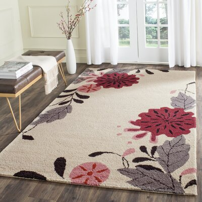 Hand-Tufted Ivory Area Rug Rug Size: Rectangle 5 x 8