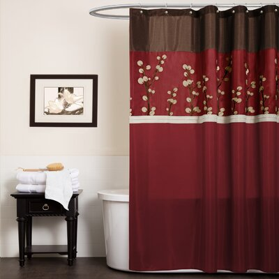 Oak Lane Shower Curtain Color: Red