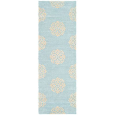 Backstrom Hand-Tufted Turquoise / Yellow Area Rug Rug Size: Runner 26 x 10