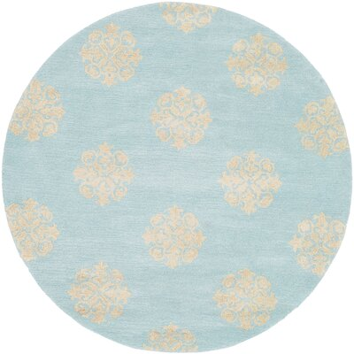 Backstrom Hand-Tufted Turquoise / Yellow Area Rug Rug Size: Round 4'