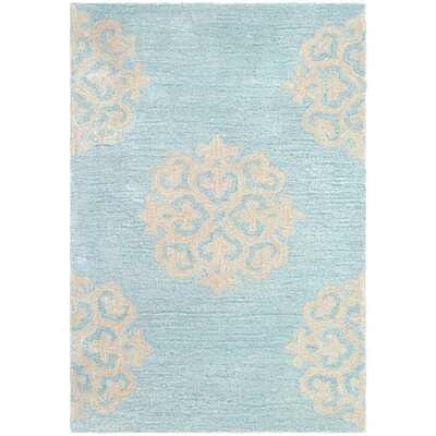 Backstrom Hand-Tufted Turquoise / Yellow Area Rug