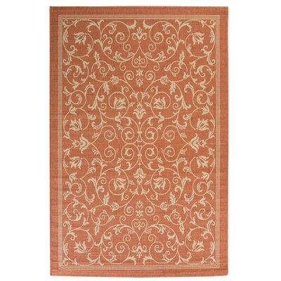Bexton Persian Terracotta/Natural Indoor/Outdoor Area Rug Rug Size: 92 x 126