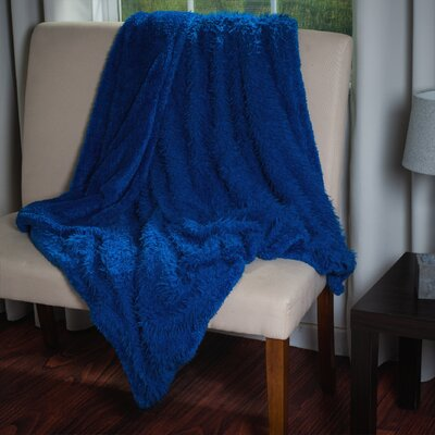 Bilmont Solid Plush Sherpa Throw Blanket Color: Blue
