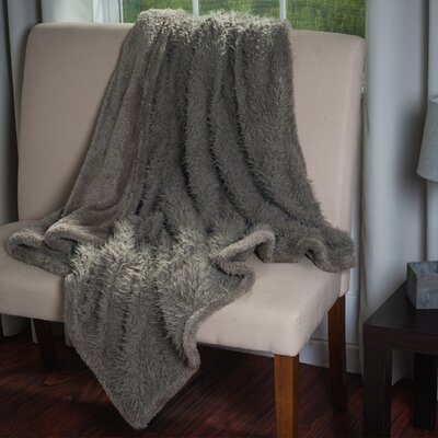 Bilmont Solid Plush Sherpa Throw Blanket Color: Gray