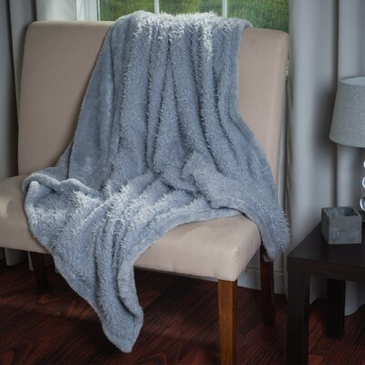 Bilmont Solid Plush Sherpa Throw Blanket Color: Silver