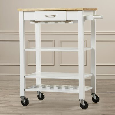 Morgandale Kitchen Cart with Butcher Block Top Finish: White / Natural