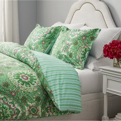 Corning Reversible Duvet Cover Set Size: Full / Queen, Color: Bright Green / Bright Pink