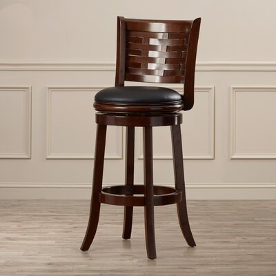 Ansari 29 inch Swivel Bar Stool with Cushion Finish: Cappuccino, Seat Height: Bar (29 inch)