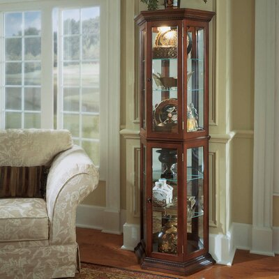 Hollingdon Lighted Curio Cabinet Color: Walnut / Cherry Brown
