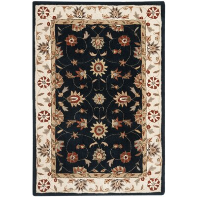 Tuscany Hand-Hooked Navy / Ivory Area Rug Rug Size: Rectangle 4 x 6