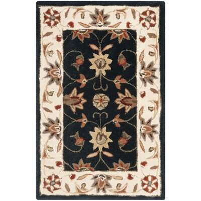 Tuscany Hand-Hooked Navy / Ivory Area Rug Rug Size: Rectangle 2 x 3
