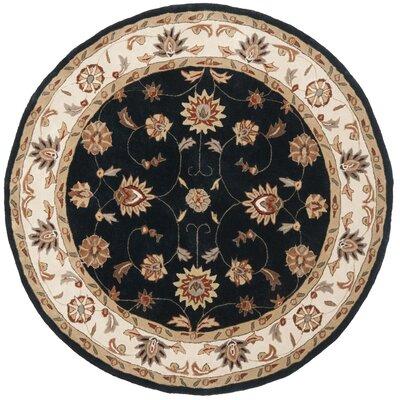 Tuscany Hand-Hooked Navy / Ivory Area Rug Rug Size: Round 6 x 6