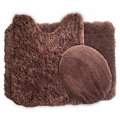 Gladding 3 Piece Super Plush Bath Rug Set Color: Chocolate