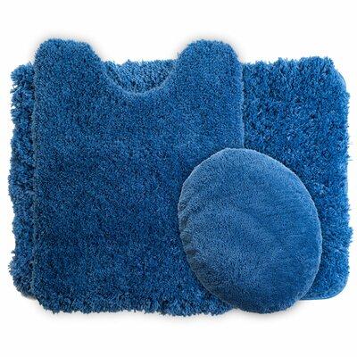 Gladding 3 Piece Super Plush Bath Rug Set Color: Navy