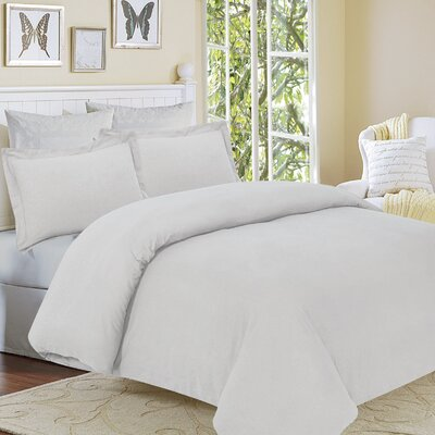 Clarks Row 3 Piece Reversible Duvet Set Size: King, Color: Silver Grey