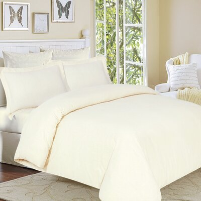 Clarks Row 3 Piece Reversible Duvet Set Size: King, Color: Ivory
