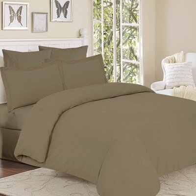 Clarks Row 3 Piece Reversible Duvet Set Color: Taupe, Size: Queen