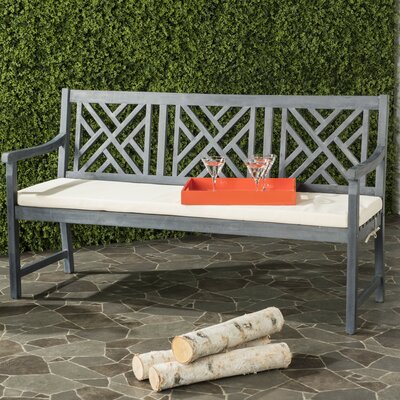 Stanwich 3 Seat Acacia and Polyester Garden Bench Finish: Ash Gray/Beige