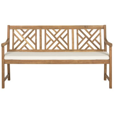 Stanwich 3 Seat Acacia and Polyester Garden Bench Finish: Teak Brown/Beige