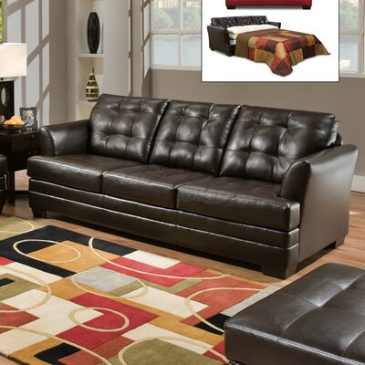 Simmons Upholstery Rathdowney Sleeper Sofa Size: Twin, Upholstery: Berry Red