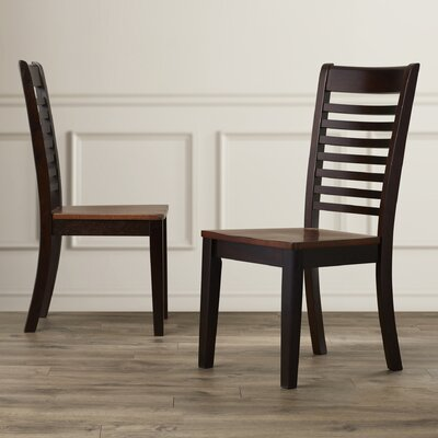 Calvert Solid Wood Dining Chair (Set of 2) Finish: Chestnut/Espresso