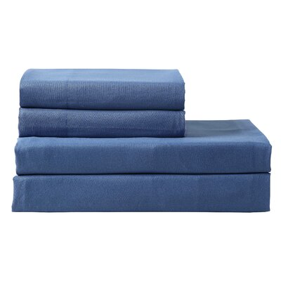 Columbard 300 Thread Count 100% Cotton Sheet Set Color: Navy, Size: Full