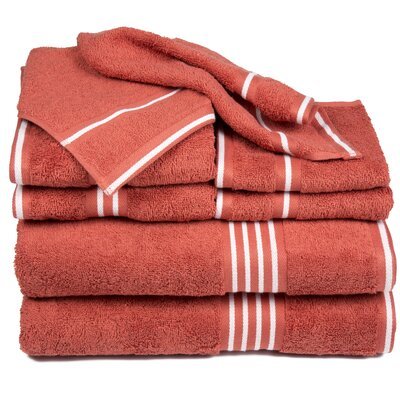 Egyptian Quality Cotton 8 Piece Towel Set Color: Brick