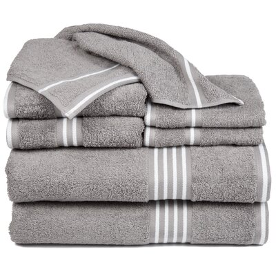 Egyptian Quality Cotton 8 Piece Towel Set Color: Silver