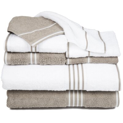 Egyptian Quality Cotton 8 Piece Towel Set Color: White / Taupe