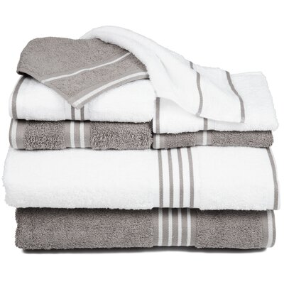 Egyptian Quality Cotton 8 Piece Towel Set Color: White / Silver
