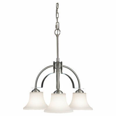 Pompton 3-Light Shaded Chandelier Finish: Brushed Steel