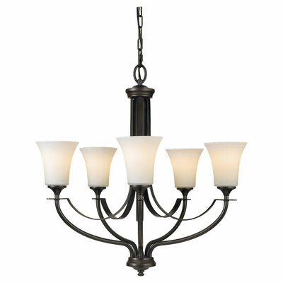 Pompton 5-Light Shaded Chandelier Finish: Oil Rubbed Bronze