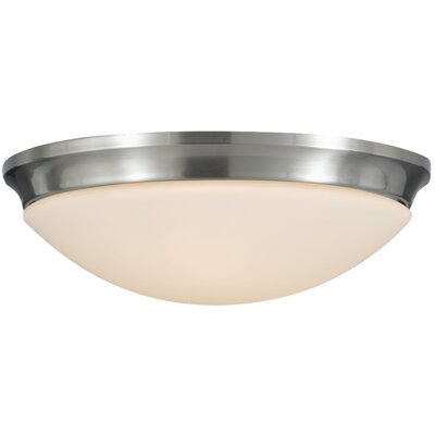 Pompton 2-Light Flush Mount Finish: Brushed Steel, Size: 5.75 H x 16.5 W x 16.5 D
