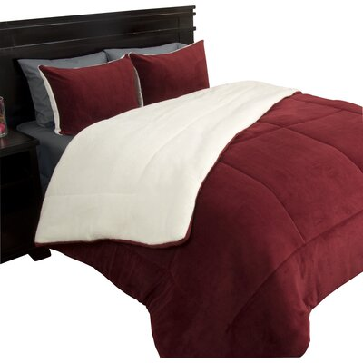 Bilmont Reversible Comforter Set Color: Burgundy, Size: Twin